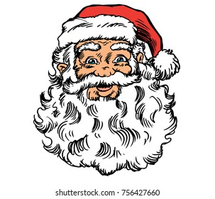 Santa's Head - Up close and personal with the jolly ol' elf himself: Saint Nick! Isolated vector art great for ads, shirts, web sites, posters, or what ever you need.