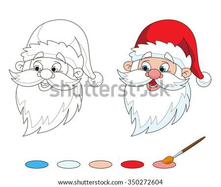 santas head coloring page
