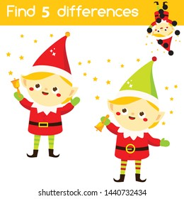 Santa's helper elf. Find the differences educational children game. Kids activity fun page. Christmas, New Year holidays theme