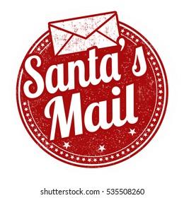 Santa's mail grunge rubber stamp on white background, vector illustration