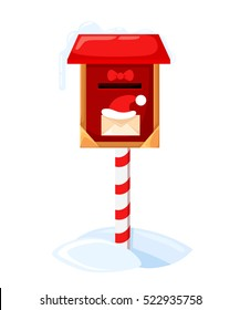 Santa`s mailbox Vector illustration of a letter for Santa Claus Merry Christmas and Happy New Year. Mail wish list snow