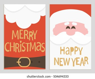 Santa's message banners. Merry Christmas and happy new year lettering. Vector illustration.
