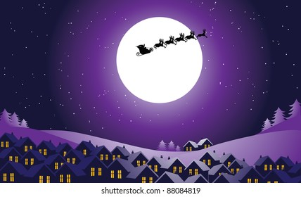 Santa's Night Ride Santa Claus flies over a small town at night. EPS 8 vector, grouped for easy editing.