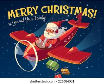 Santa's plane. Christmas card \ poster \ banner. Vector illustration.