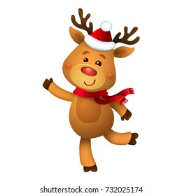 Santa's Reindeer Rudolph. Vector illustrations of Reindeer Rudolf Isolated on White Background.