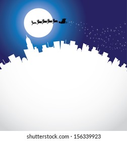 Santa's Ride Santa Claus flies over the landscape with his eight tiny reindeer. EPS 10 vector grouped for easy editing.