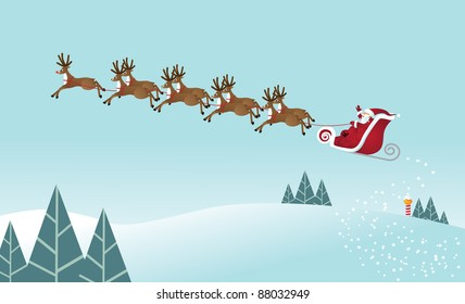Santa's Ride Santa Claus takes off from the North Pole with his eight tiny reindeer. EPS 8 vector grouped for easy editing.