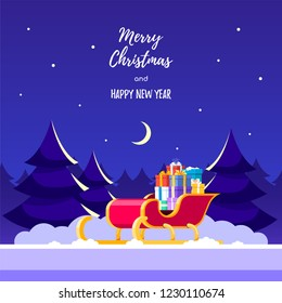 Santa's sledge filed with gift boxes. Pines, stars and moon on background. Christmas greeting card. Flat style illustration.