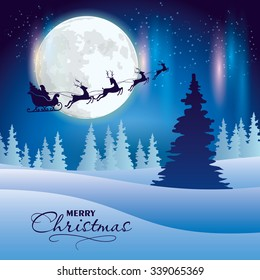 Santa's sleigh flying over and woodland at the starry sky with a full moon and northern lights.