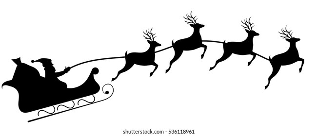 Santa's sleigh with four reindeers