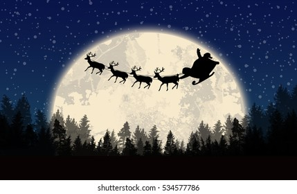 Santa's sleigh in front of full moon on beautiful blue night, vector illustration