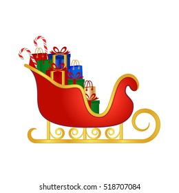 Santa's sleigh full of gifts, vector illustration