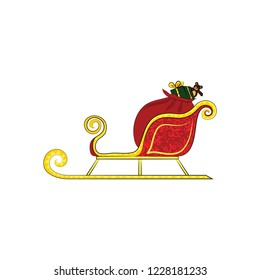 Santa's sleigh with gifts. Vector color illustration