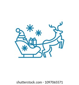 Santa's sleigh linear icon concept. Santa's sleigh line vector sign, symbol, illustration.