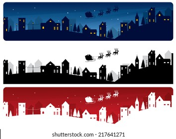Santa's sleigh and little town banners.