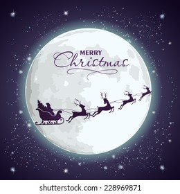 Santa's sleigh on a background of the full moon and a starry sky.