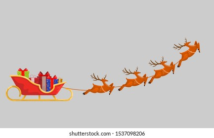 Santas Sleigh with Presents and Reindeer line up for Christmas gift delivery. Isolated Flat, solid and cartoon style vector illustration.