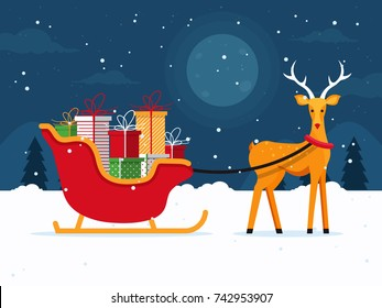 Santa's Sleigh with Presents and Reindeer on Christmas Night. Flat Design Style.