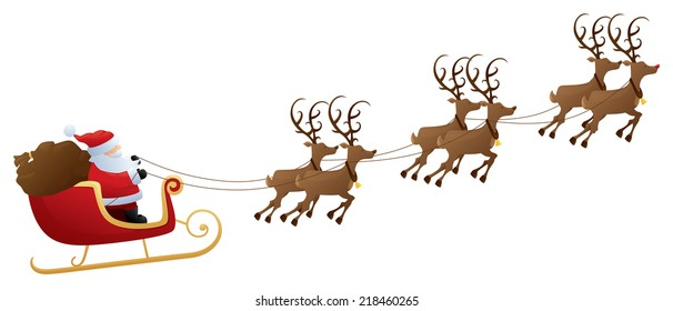 Santa's sleigh and reindeer.