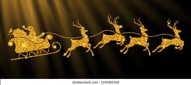 santa's sleigh with reindeers in glowing golden