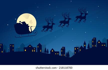 Santa's sleigh silhouette evening scene.