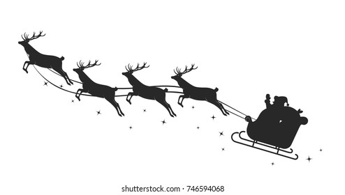 Santa's sleigh silhouette. Vector illustration with reindeers and Santa isolated on white background.