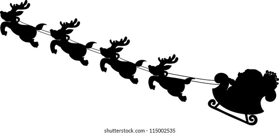 Santa's Sleigh silhouettes  hand writing cartoon.