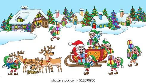 Santa's Village vector cartoon illustration.