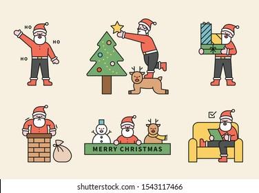 Santa's work. busy day. flat design style minimal vector illustration.