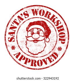Santa's workshop approved grunge rubber stamp on white background, vector illustration