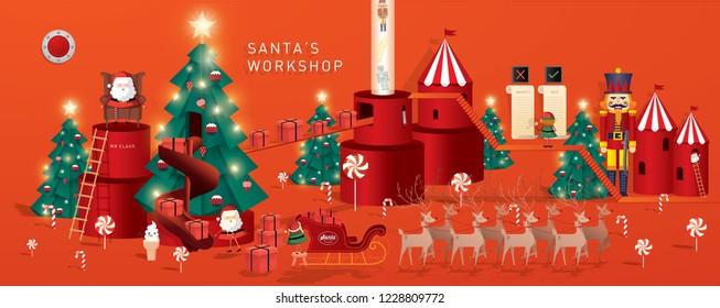 santa's workshop / christmas greetings template vector/illustration
