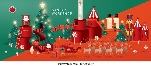 santa's workshop/ christmas greetings template vector/illustration