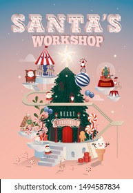 santa's workshop christmas greetings template vector/illustration