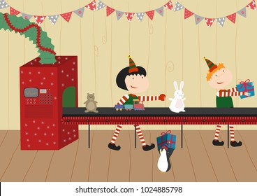 Santa's workshop. Elves working. Presents, gift, toys. Holiday, Christmas Eve, celebration. Winter, North Pole. Cute fun cartoon vector illustration.Toys factory