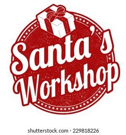 Santa's Workshop grunge rubber stamp on white, vector illustration