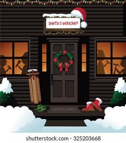 Santa's workshop at the north pole. EPS 10 vector royalty free stock illustration for ad, promotion, poster, flier, blog, article, social media, marketing