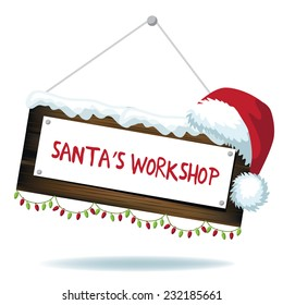 Santas workshop sign isolated EPS 10 vector illustration