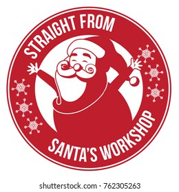 Santa's Workshop stamp or sticker. Logo design for Santa Claus Christmas factory. Label for Christmas gifts, ads or marketing, EPS 10 vector illustration.