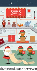 santa's workstation/ workshop vector/illustration