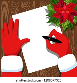 Santa's writing a letter. illustration with Santa's hands