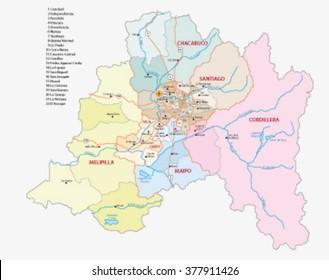 Santiago (Chile) Metropolitan Region Administrative Map