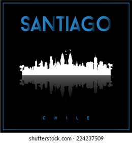 Santiago, Chile skyline silhouette vector design on parliament blue and black background.