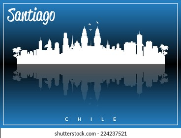 Santiago, Chile, skyline silhouette vector design on parliament blue and black background.