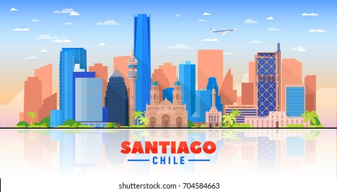 Santiago de Chile city skyline on a white background. Flat vector illustration. Business travel and tourism concept with modern buildings. Image for banner or web site.
