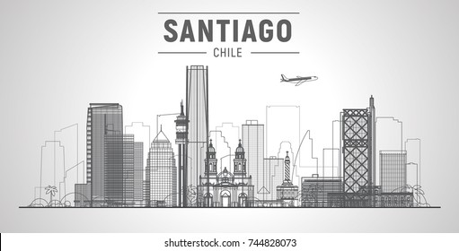 Santiago de Chile line city skyline on a white background. Flat vector illustration. Business travel and tourism concept with modern buildings. Image for banner or web site.