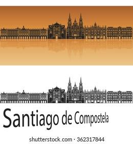 Santiago de Compostela skyline in orange background in editable vector file