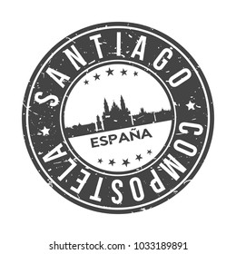 Santiago de Compostela Spain Round Stamp Icon Skyline City Design badge.