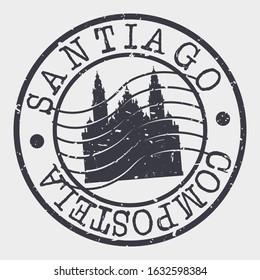Santiago de Compostela Spain Stamp Postal. Silhouette Seal. Passport Round Design. Vector Icon. Design Retro Travel. National Symbol.