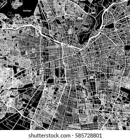 Santiago One Color Map, Vector Outline Version, ready for color change, Artprint