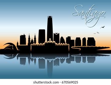Santiago skyline - Chile - vector illustration